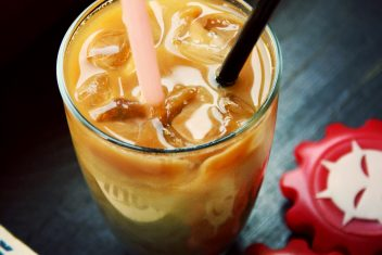 Ice coffee with almond milk