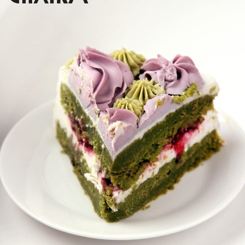 Spinach – strawberry cake